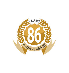 86 years ribbon anniversary vector