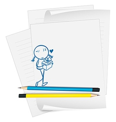 A paper with an image of a girl with a gift vector