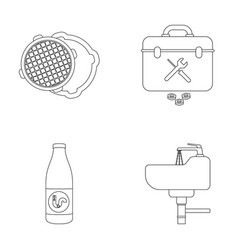 a sewer hatch a tool box a wash basin and other vector image vector image