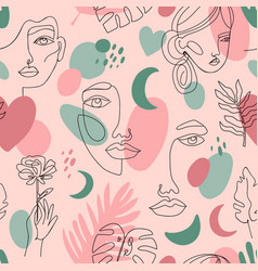 abstract female portraits pattern seamless hand vector image