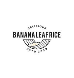 banana leaf rice logo icon vector image