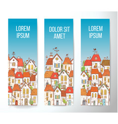 banners with cartoon doodle houses on blue vector image