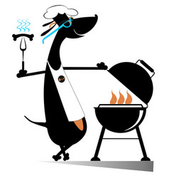 Barbecue and dog isolated vector