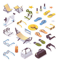 big isometric set with women travel and vacation vector image