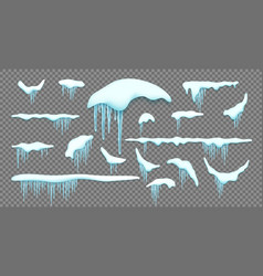 big set of realistic snow caps icicles snowball vector image