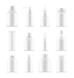 blank bottles or empty cosmetic product containers vector image