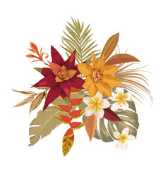 boho tropical flowers bouquet tropic leaves vector image