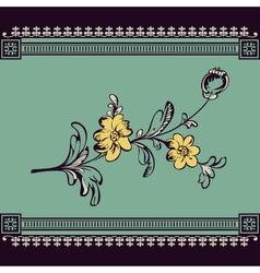 Border vintage flower vector
