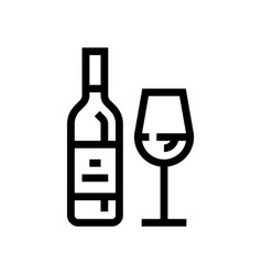 bottle wine wine line icon winery vector image