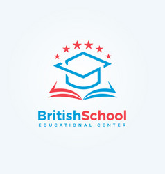 british school logo open book and graduation cap vector image