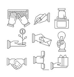 Business Icons Set With Hands in Linear Style vector