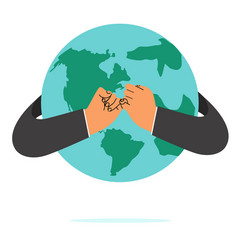 businessman hand pinky promise with earth vector image