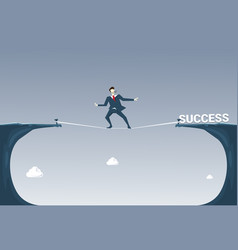 Businessman walk over cliff gap mountain vector