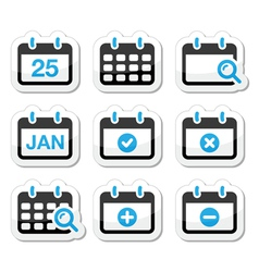 calendar date icons set vector image