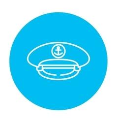 Captain peaked cap line icon vector