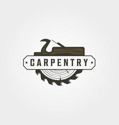 carpentry logo vintage symbol design woodwork vector image