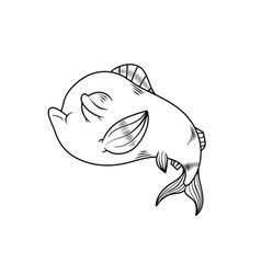 cartoon style fish drawing in black and white vector image