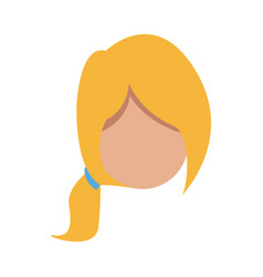 cartoon woman head faceless hair style vector image