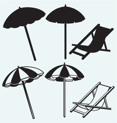 Chair and beach umbrella vector image