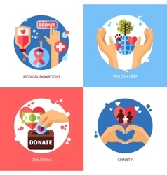 Charity Design Concept Icons Set vector