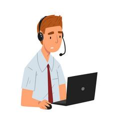 Cheerful male call center operator customer vector