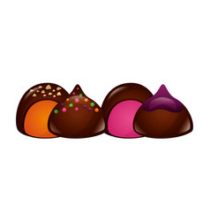 Chocolate sweet bonbons candy stuffed vector