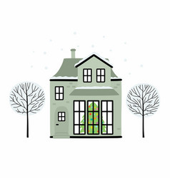 christmas house covered with snow with a vector image