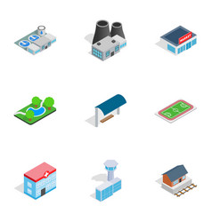 cityscape icons isometric 3d style vector image