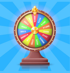 Colorful wheel of fortune with money prizes slots vector
