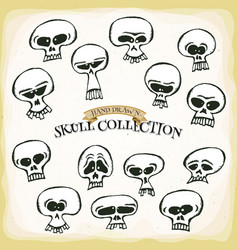 comic hand drawn skull head set vector image