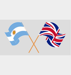 Crossed and waving flags argentina and uk vector