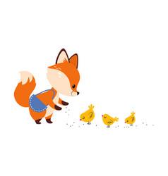 Cute little fox feeding chicks with grain vector