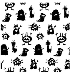 Cute monsters silhouettes pattern vector
