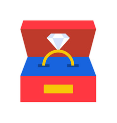 diamond ring in box jewelry related icon flat vector image