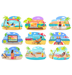 Distant work and freelance on beach during summer vector