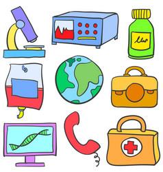 Doodle of medical element various set vector