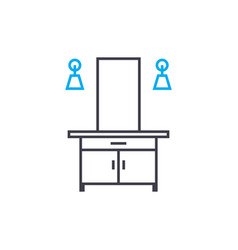 dressing table linear icon concept dressing table vector image
