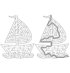 Easy boat maze vector