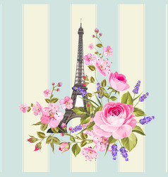 eiffel tower post card design vector image
