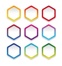 Empty colorful hexagon sticker set vector