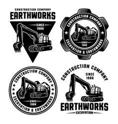 Excavator and earthworks set emblems vector