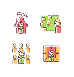 Fears and phobias rgb color icons set vector