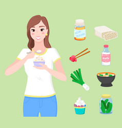Female character eating yogurt and meal collection vector