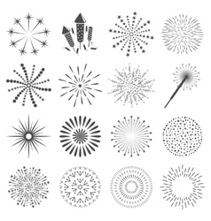 Firework icon set with petard stars Festival vector image