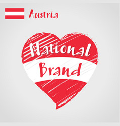 flag heart austria national brand vector image