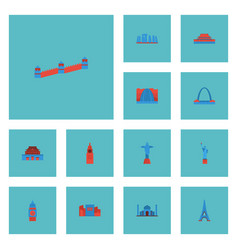 Flat icons beijing india mosque london and other vector