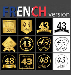 French set of number 43 templates vector