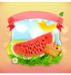 Fresh fruit label watermelon background for making vector
