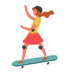 girl on skateboard in helmet child playing outside vector image