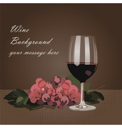 Glass of Red wine with grapes vector image